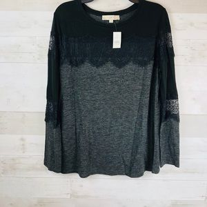 Loft Lace Black And Grey Top NWT
